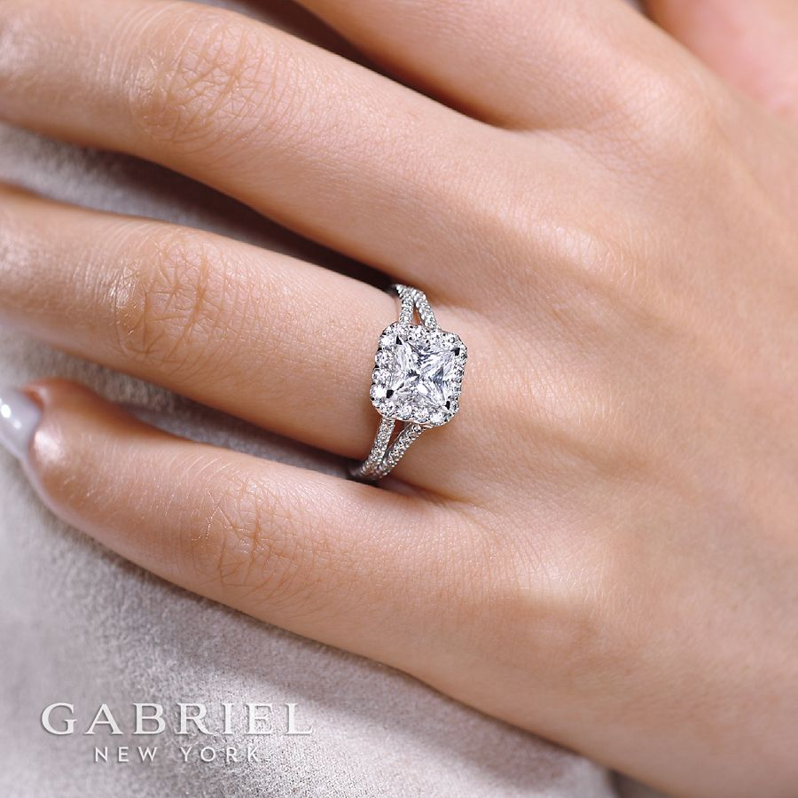 14K White Gold Princess Halo Diamond Engagement Ring angle