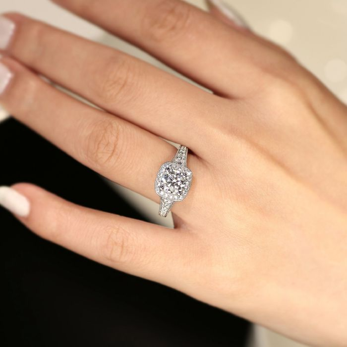 Vintage Inspired 14K White Gold Cushion Halo Round Diamond Engagement Ring angle