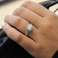 Marissa 14k White Gold Round Halo Engagement Ring angle