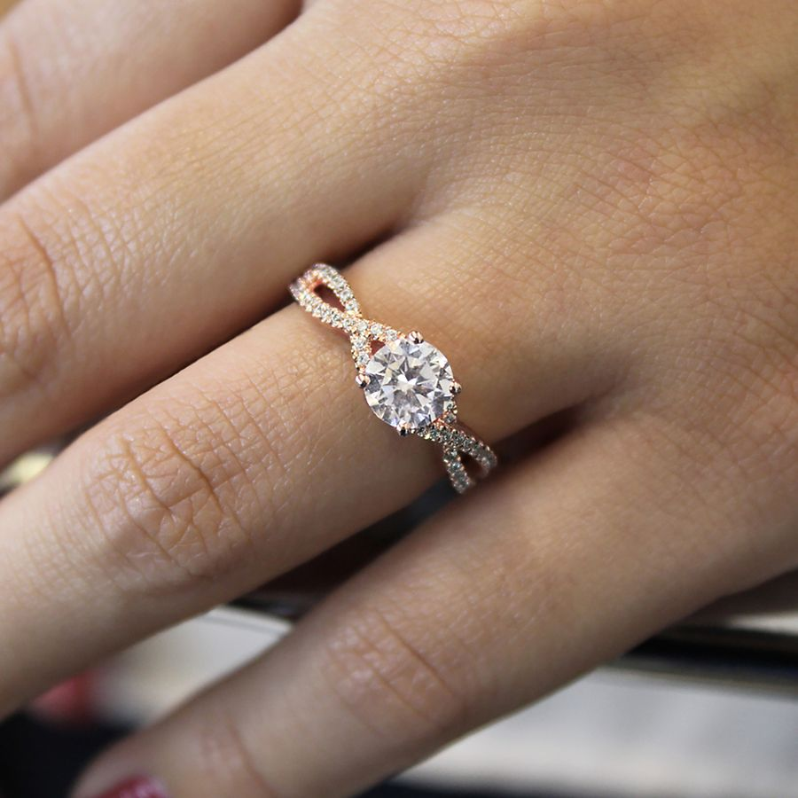14K Rose Gold Twisted Round Diamond Engagement Ring angle