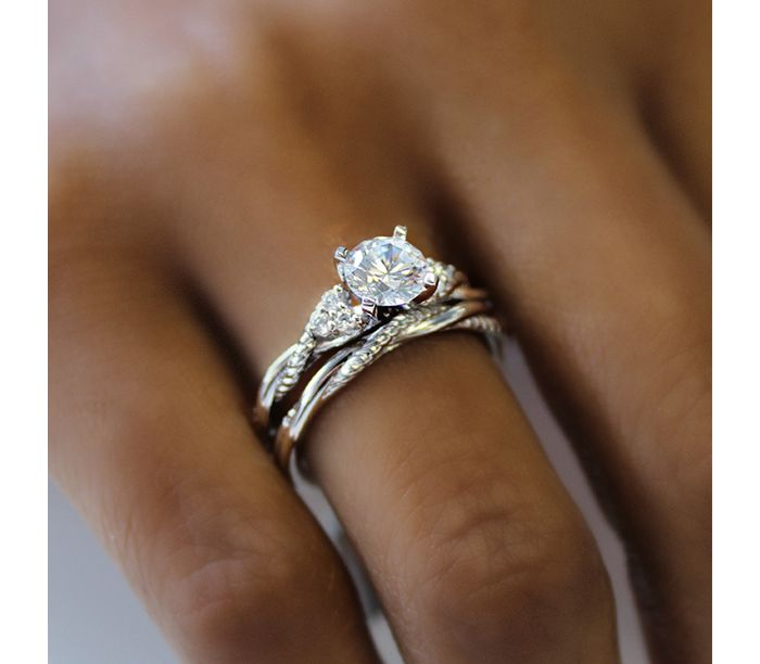 14K White Gold Round Twisted Diamond Engagement Ring angle