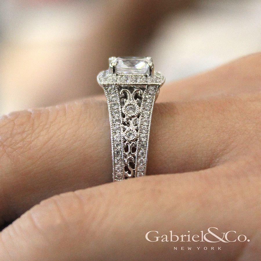 Vintage Inspired 14K White Gold Cushion Halo Diamond Engagement Ring angle