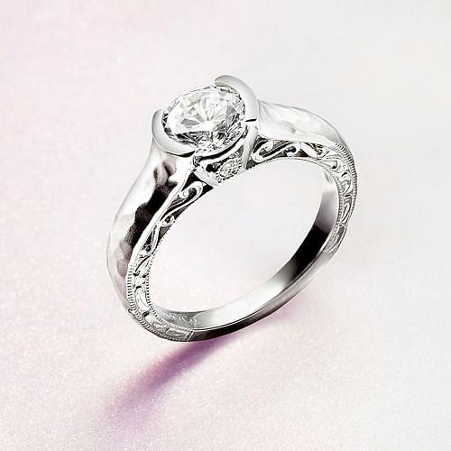 Vintage Inspired 14K White Gold Round Diamond Engagement Ring angle