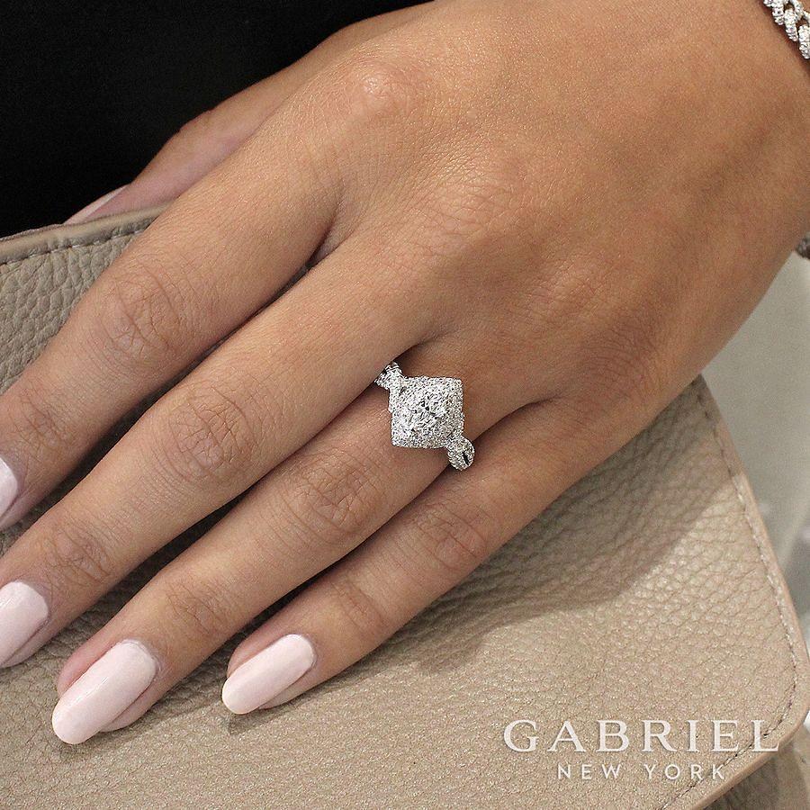14K White-Rose Gold Marquise Shape Diamond Engagement Ring angle