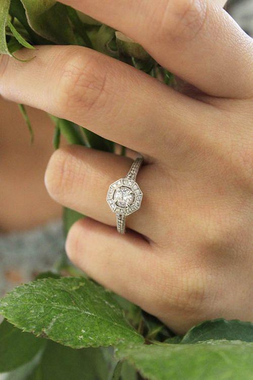 Vintage 14K White Gold Round Halo Diamond Engagement Ring angle