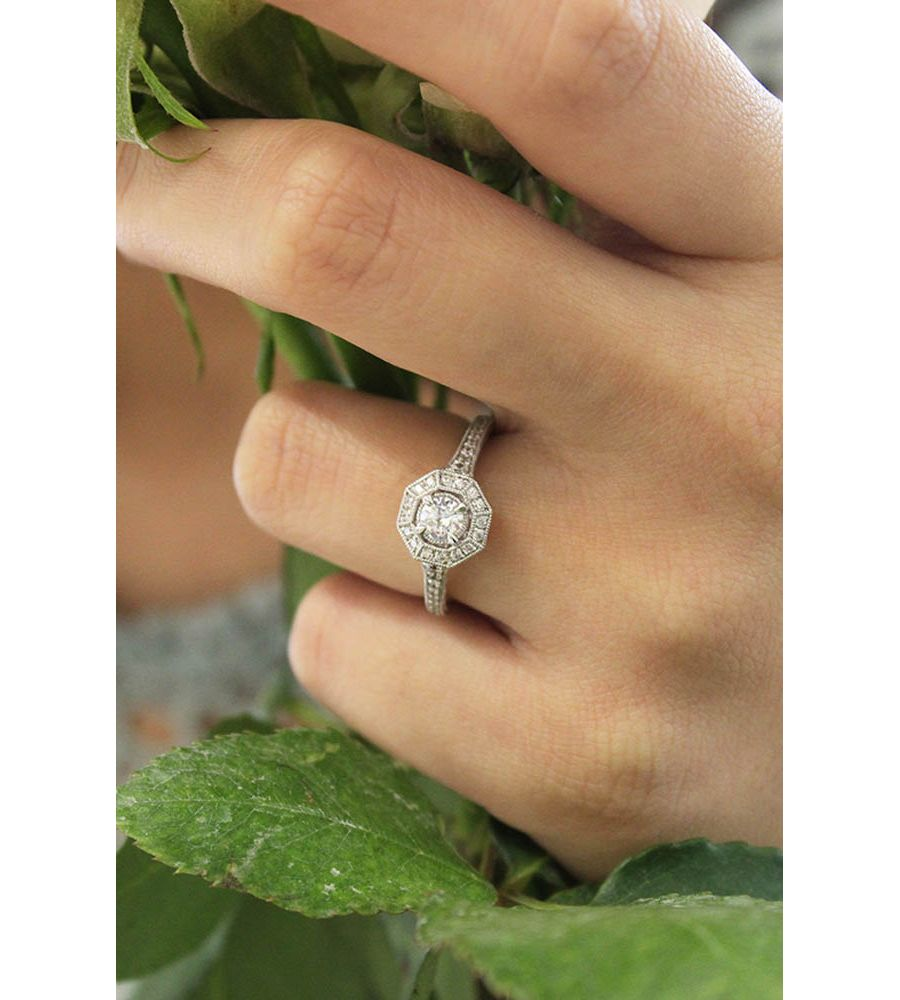 Vintage 14K White Gold Octagonal Halo Engagement Ring angle