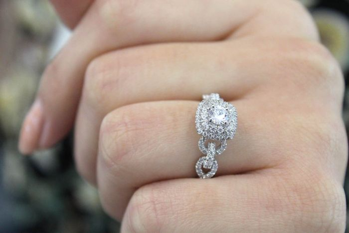 14K White Gold Cushion Double Halo Round Diamond Complete Engagement Ring angle