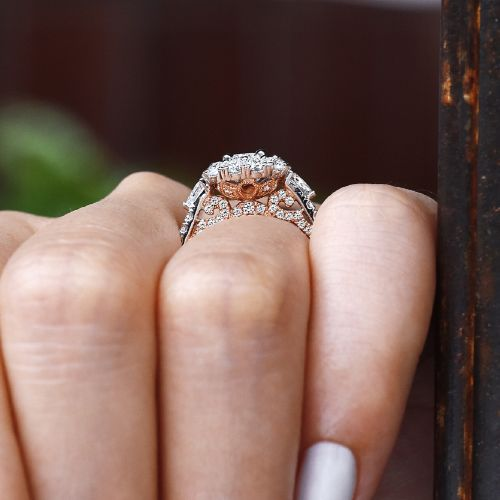 Complete 14K White-Rose Gold Round Three Stone Double Halo Diamond Engagement Ring angle