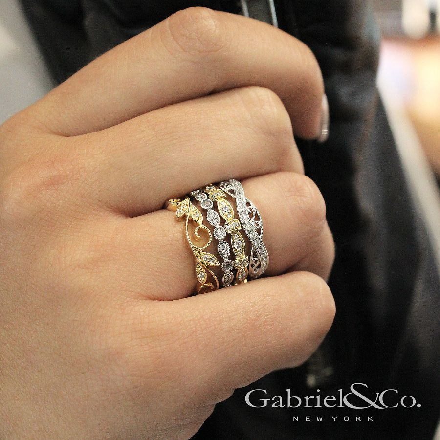 14K White Gold Twisted Filigree Diamond Stackable Ring