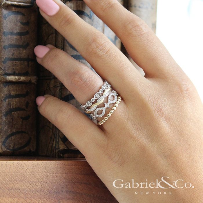 14K Yellow Gold Twisted Diamond Stackable Ring angle