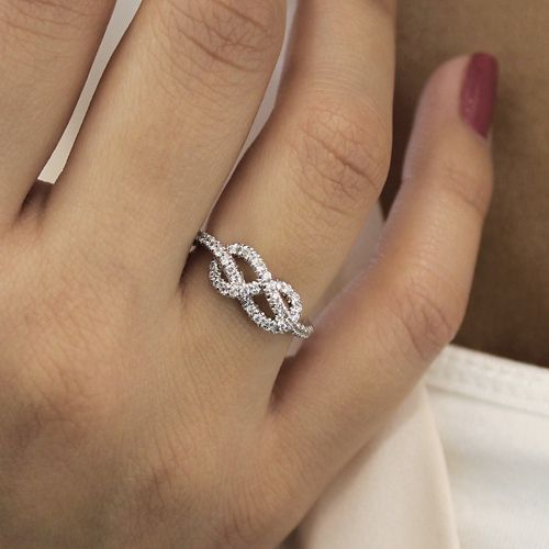 14k White Gold Twisted Diamond Knot Eternity Ring angle
