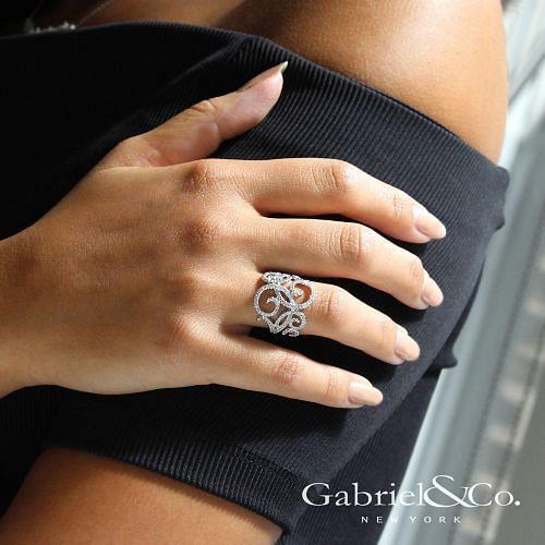14K White Gold Pavé Diamond Scrollwork Ring angle