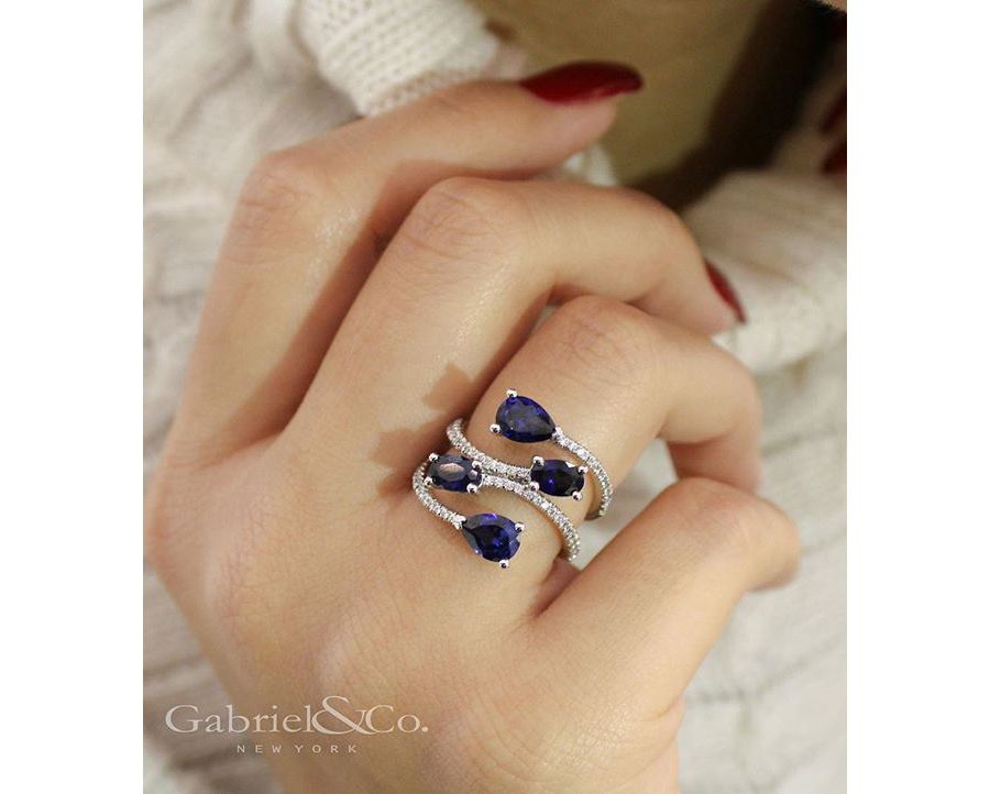 14K White Gold Oval and Teardrop Sapphire and Diamond Wrap Ring angle