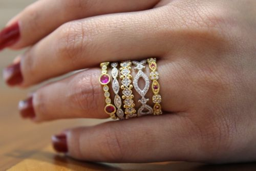 14K Yellow Gold Alternating Ruby and Diamond Station Stackable Ring angle