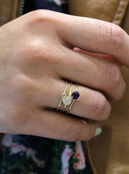 14K Yellow Gold Round Bezel Amethyst and Diamond Three Row Ring angle
