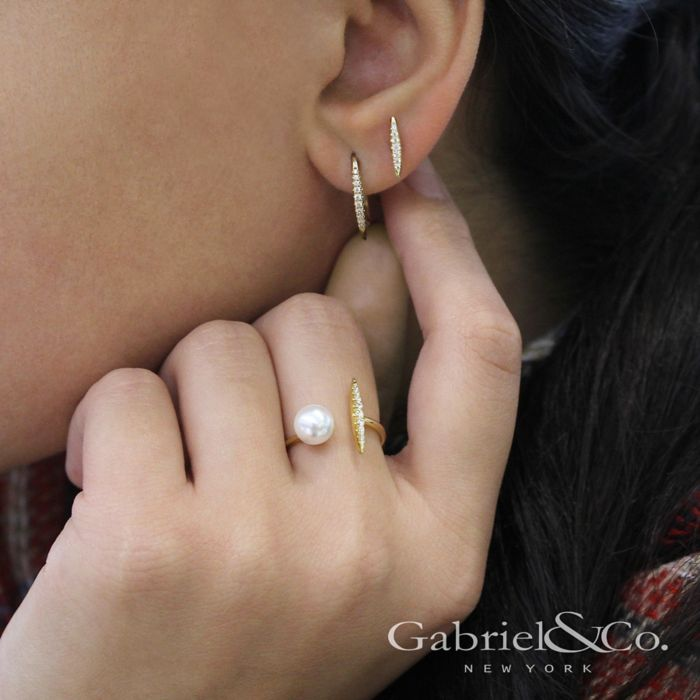 14K Yellow Gold Cultured Pearl and Diamond Bar Open Ring angle
