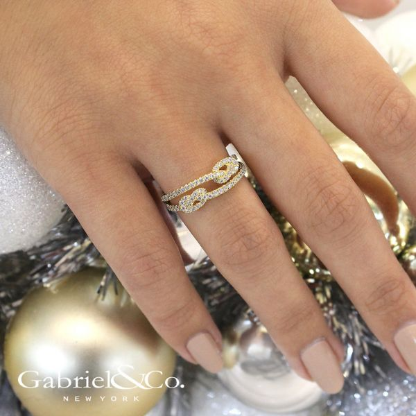 14k Yellow Gold Eternal Love Twisted Ladies' Ring angle