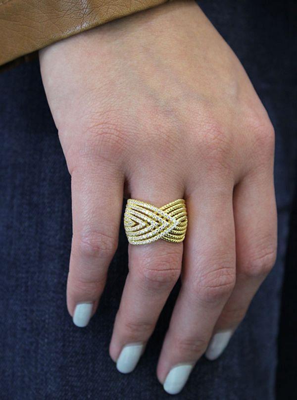 14k Yellow Gold Hampton Twisted Ladies' Ring angle