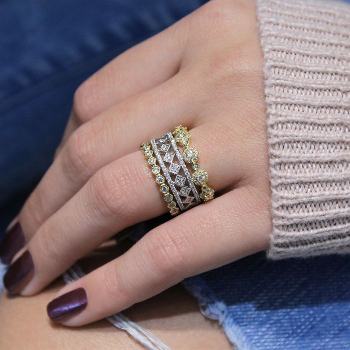 14K Yellow Gold Diamond Pavé Station Stackable Ring angle