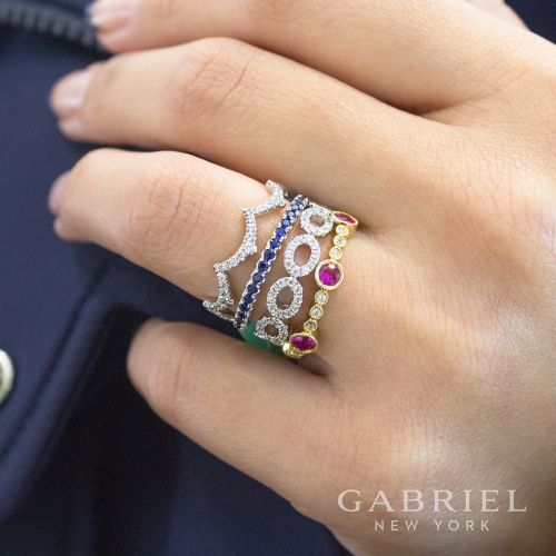 14k Yellow Gold Diamond and Ruby Stackable Ring angle