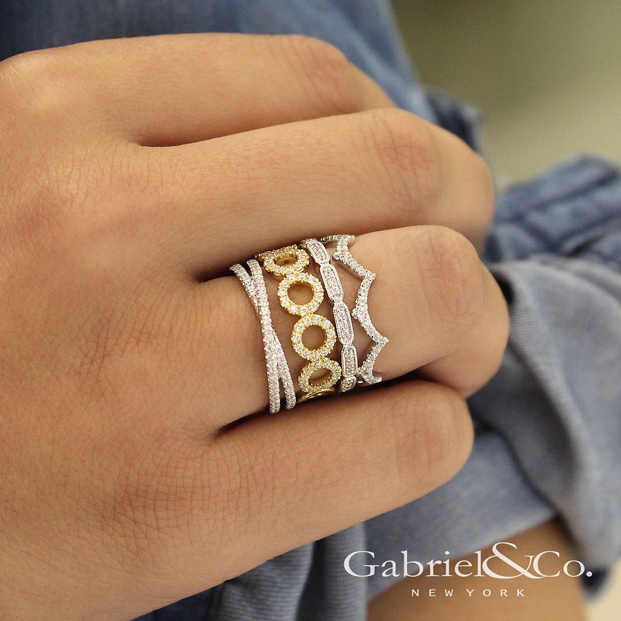 14K White Gold Segmented Diamond Stackable Ring angle