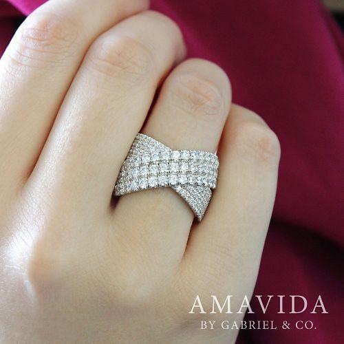 18K White Gold Multi Row Diamond Criss Cross Ring angle
