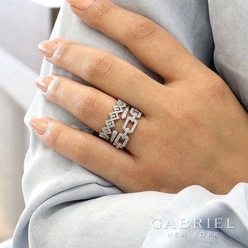 14K White Gold Diamond Zig Zag Stackable Ring angle