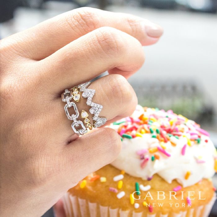 14K Yellow Gold Bezel Set Diamond Split Stackable Ring angle
