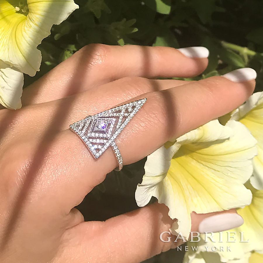 14K White Gold Triangle Diamond Statement Ring angle