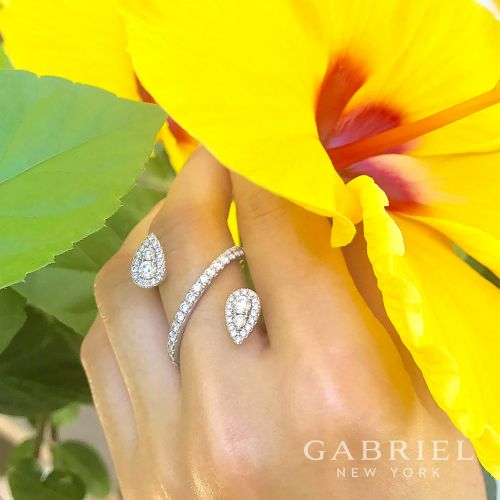 14K White Gold Diamond Pavé Teardrops Wrap Ring angle