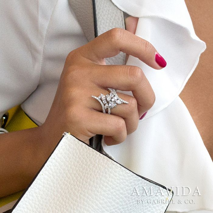 18K White Gold Fashion Ladies Ring angle