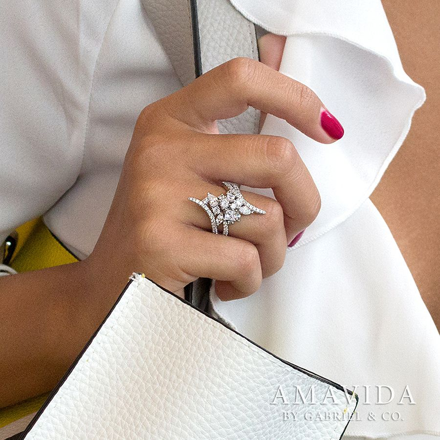 18K White Gold Diamond Cluster Statement Ring angle