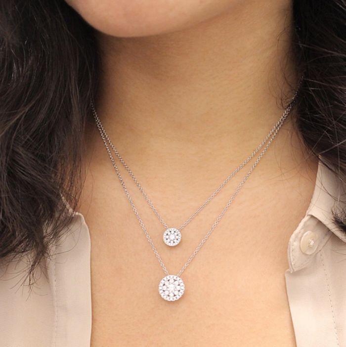 14K White Gold Round Floral Diamond Pendant Necklace angle