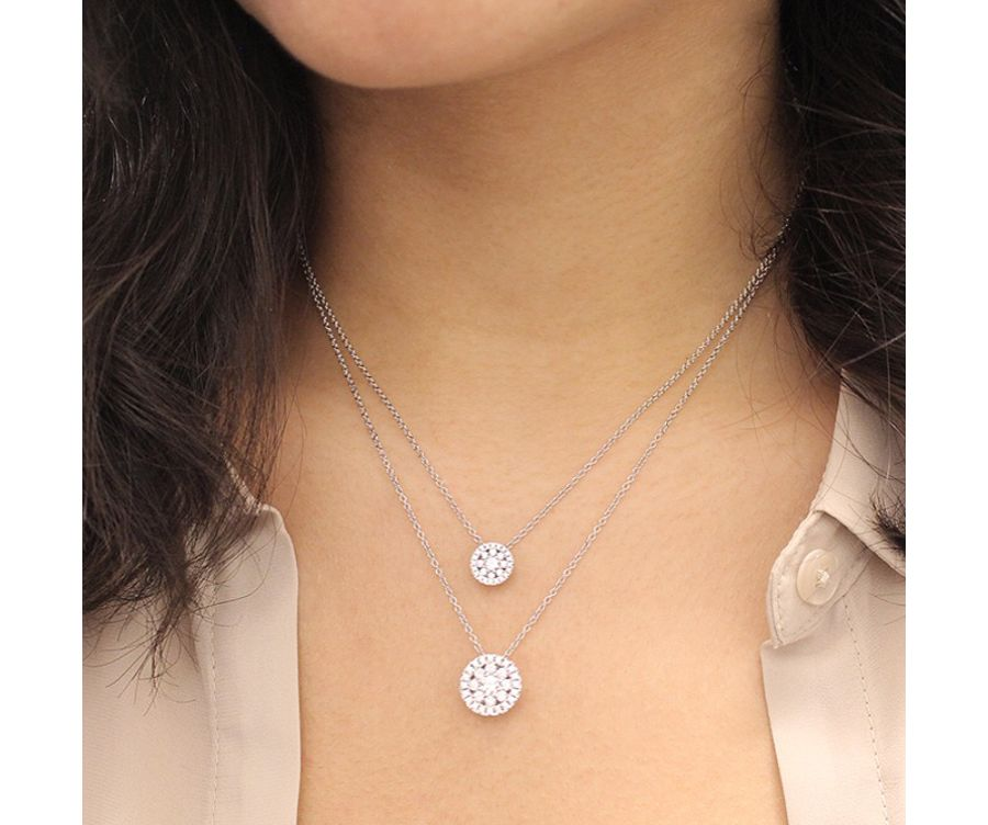 14K White Gold Round Floral Diamond Pendant Necklace