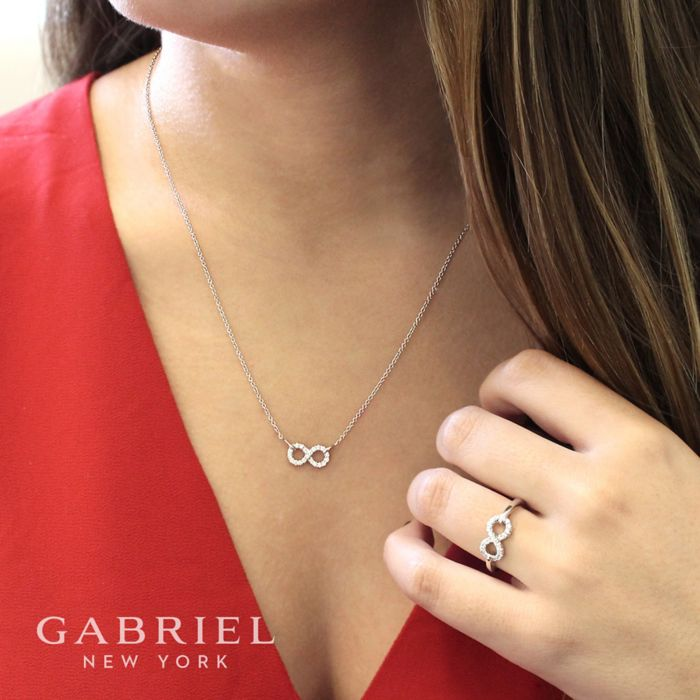 925 Sterling Silver White Sapphire Infinity Symbol Pendant Necklace angle