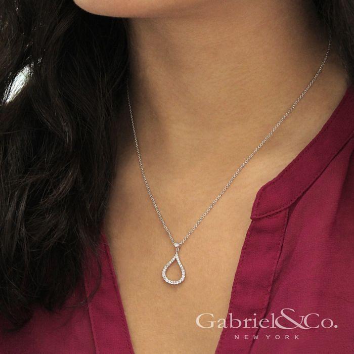 14k White Gold Diamond Pave Droplet Fashion Necklace angle