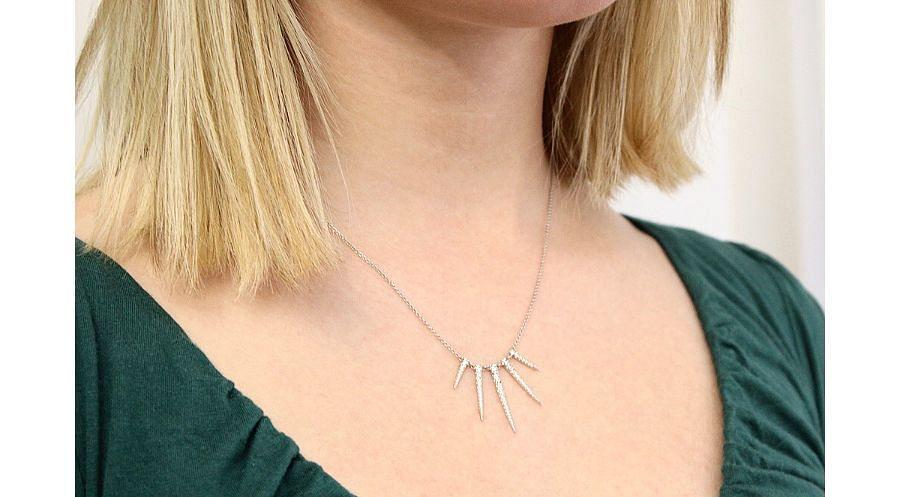 14K White Gold Diamond Necklace angle