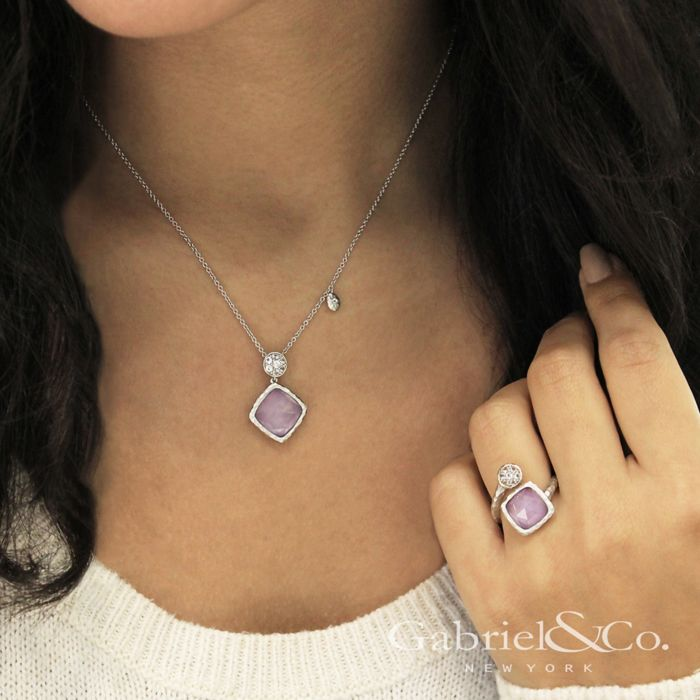 925 Sterling Silver Rock Crystal/Purple Jade and White Sapphire Pendant Necklace angle