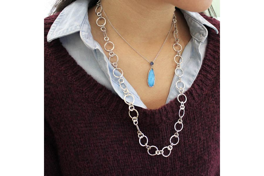 Long 925 Sterling Silver Rock Crystal/Turquoise Teardrop Pendant with Sapphire angle