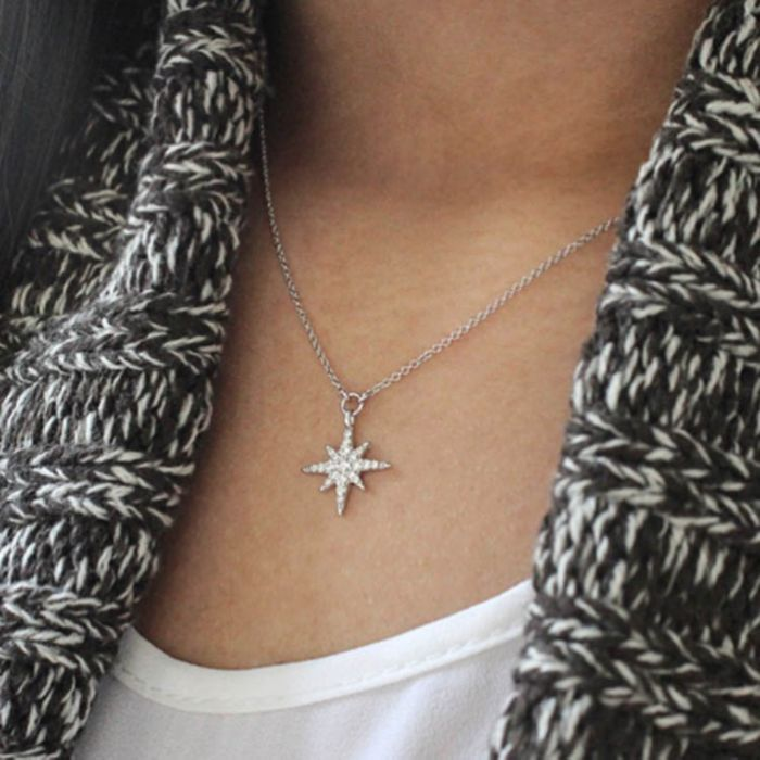 14K White Gold Diamond Starburst Pendant Necklace angle