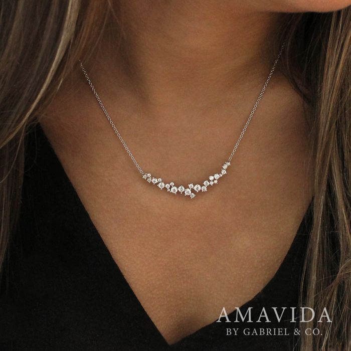 18K White Gold Diamond Cluster Curved Bar Necklace angle