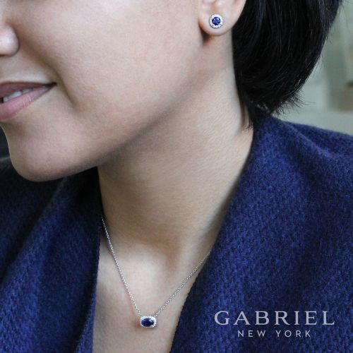 14k White Gold Round Diamond Halo Sapphire Stud Earrings