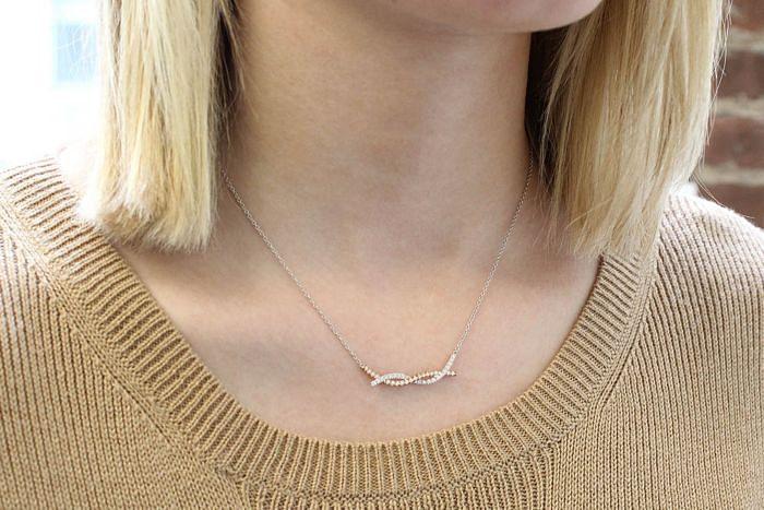 14K Yellow-White Gold Twisted Diamond Bar Necklace angle