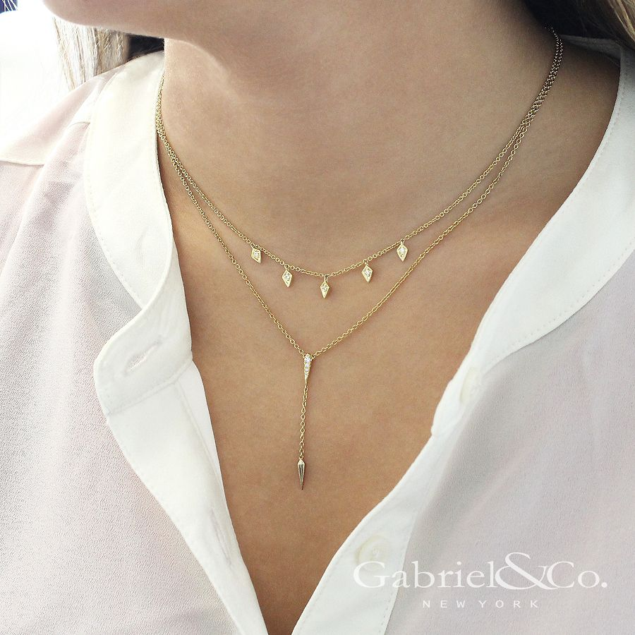 14K Yellow Gold Diamond Pavé Y Necklace with Kite Drop angle