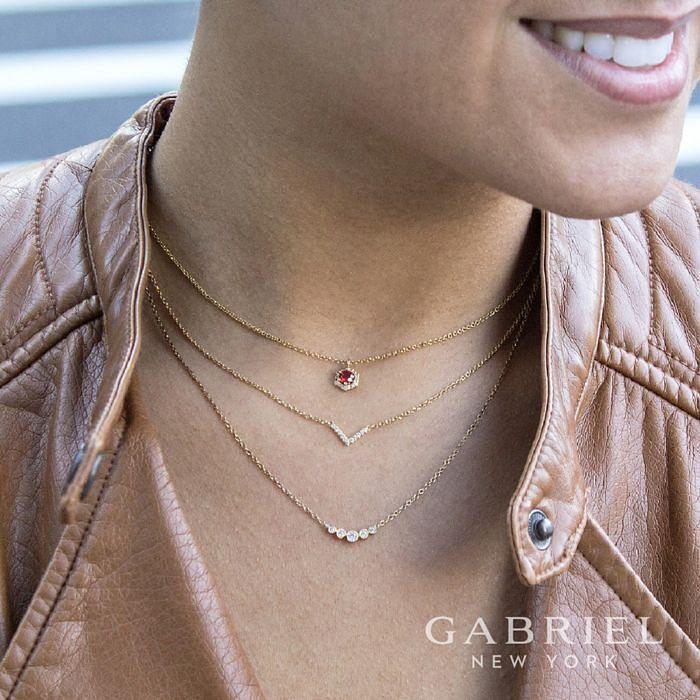 Curved 14K Yellow Gold Bezel Set Diamond Bar Necklace angle