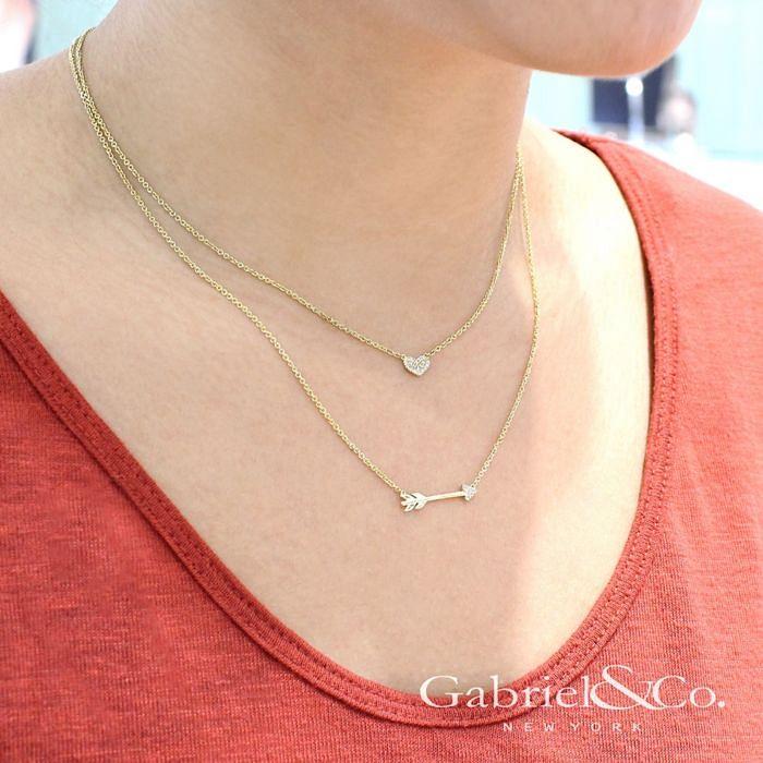 14K Yellow Gold Diamond Arrow Necklace angle