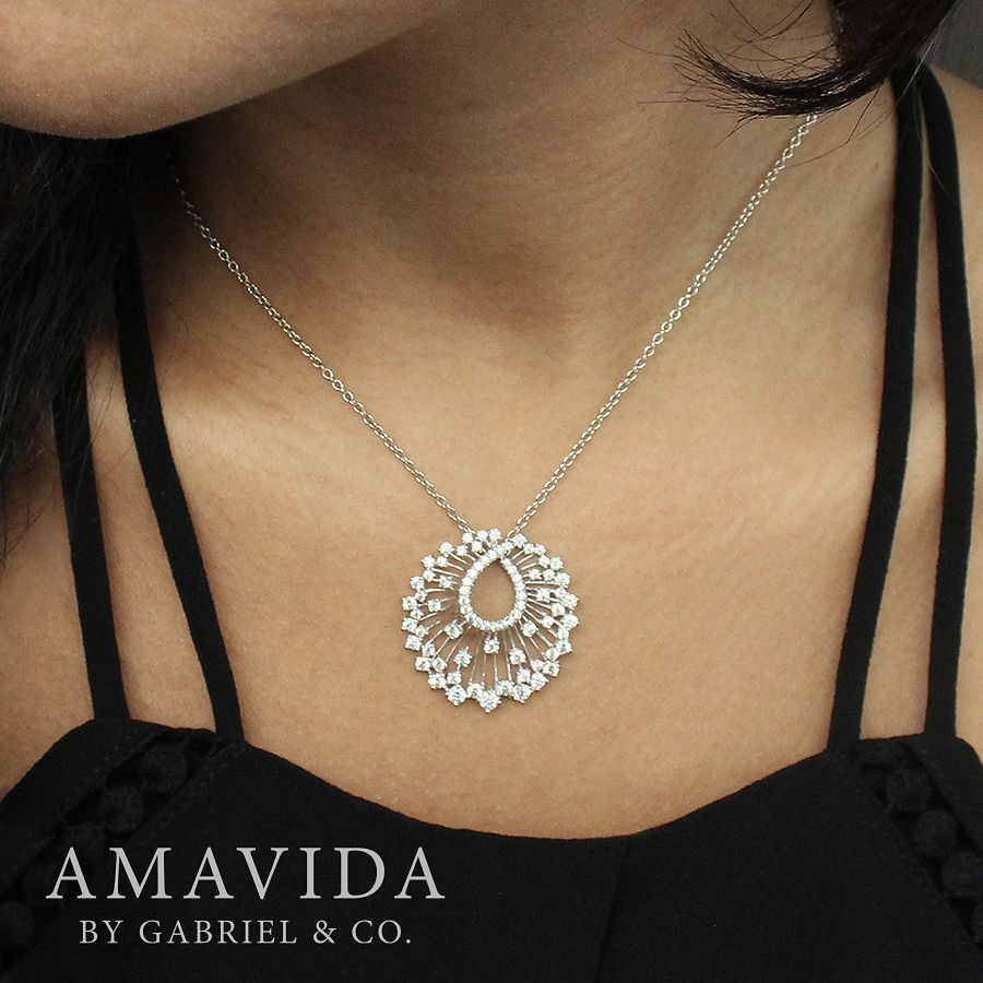 18K White Gold Waterfall Swirl Diamond Pendant Necklace angle