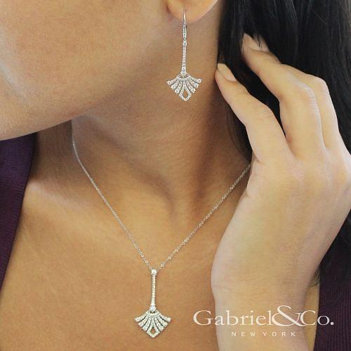 14K White Gold Long Diamond Fan Leverback Drop Earrings angle