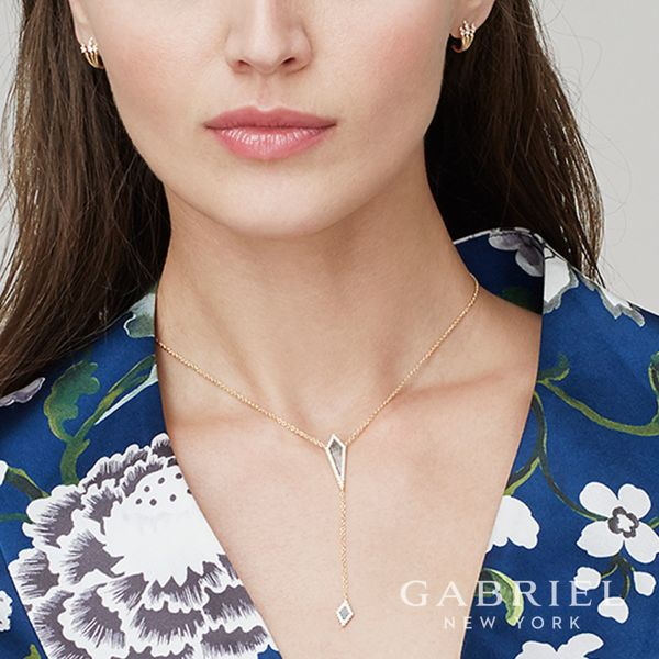 14k Yellow Gold Black Mother of Pearl Y Knot Necklace angle