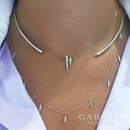 14k White Gold Pave Diamond Tipped Collar Choker Necklace angle